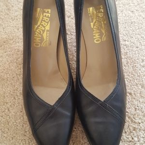 Vintage Salvatore Ferragamo Black Leather Heels